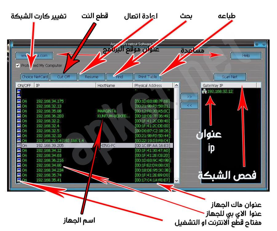 شرح استخدام netcut للكمبيوتر
